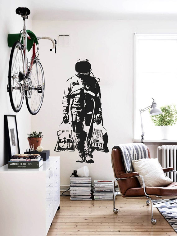 & Wall decal BANKSY ASTRONAUT SHOPPING Street Art Sticker