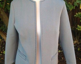 Original Vintage 1960's Blue/white Check Jacket - Size 12