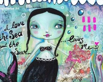 Mermaid painting, Whimsical art, folk art, Children's art, Home decor, 8 x 10 print, Mermaid Print