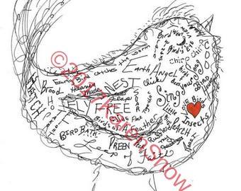 Bird Lover Gifts, Gift for Bird Lovers, Bird Art, Bird Print, Nature Gift, Bird Doodle, Gift for Nature Lover, Bird Wall Art, Garden Art