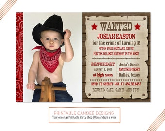 Cowboy Birthday Invitation - Wanted Poster - Cowboy Birthday - Cowboy Party - Western Birthday - Western Invitation - Printable Invitation
