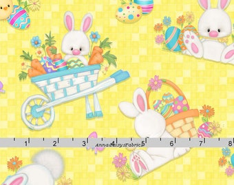 Easter Bunny Fabric, Yellow Easter Quilt Fabric, Henry Glass Hop to It HEG 6857 44 Shelly Comiskey, Rabbit, Easter Fabric, Easter Cotton