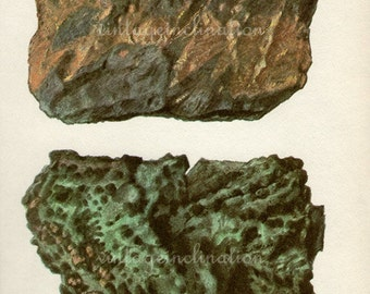 Antique Prints, 1950s  Rocks & Minerals, beautiful wall art vintage coloured illustration rocks natural science