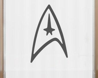 Star Trek Shower Curtain Logo Communicator Bathroom Decor Bath Kids