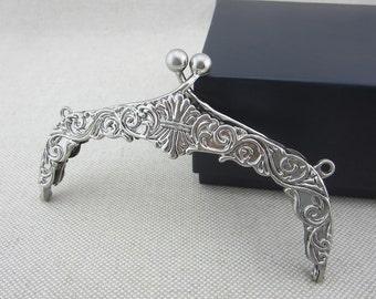 "Nickel Silver Metal Purse Frames 13cm (5.1"")"