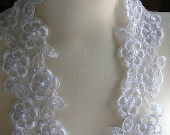 White Beaded Lace Trim with Faux Pearls for Bridal, Garter Trim, Appliques, Veils, Costumes BL 4001white