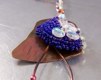 Copper Necklace with Bead Embroidery Swarovski Crystals