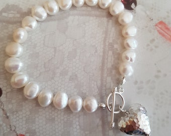 White Baroque Freshwater Pearl bracelet Sterling Silver hammered heart white or grey pearls