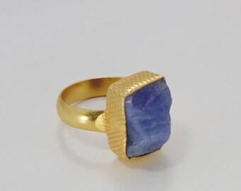 Blue Tanzanite Ring - Handmade Ring - Gold Plated Ring - Designer Ring - Delicate Ring - Bezel Set Ring - Fashion Ring - Christmas Ring
