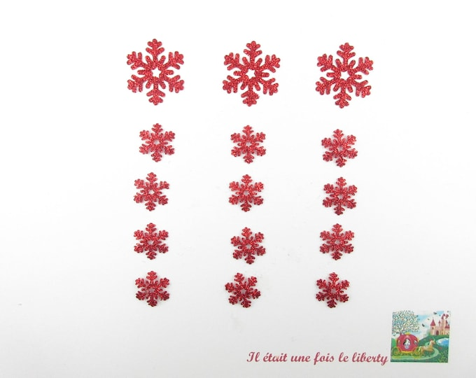 Applied seconds (15) snowflakes in red glitter flex (choice of colors) patch iron on glitter Christmas ornament christmas gift