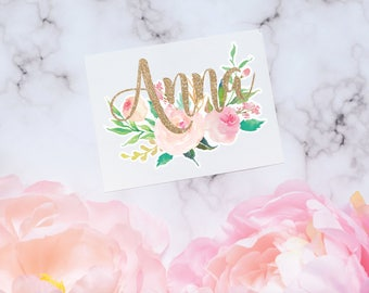 Peony Floral Monogram Decal, Peony Decal, Watercolor Flowers, Flower decal, Tumbler Decal, Watercolor Peonies, Printed Decal