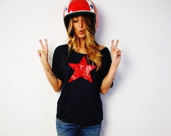 4th of July Star Shirt Women. American Flag Tee.  Sequin Star TShirt. USA  America Red White Blue. Fourth of July Womens Slouchy Patriotic