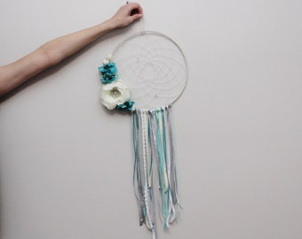 Turquoise Floral Dreamcatcher Wall Hanging // Customizable Handmade Weave // Wall Decor // Nursery Bedroom Decor // Neutral Home Decor