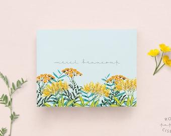 Carte Merci beaucoup / Remerciement, Carte fleurie avec enveloppe, Illustration de fleurs sur fond bleu, Fleur et fougère fait à l'aquarelle