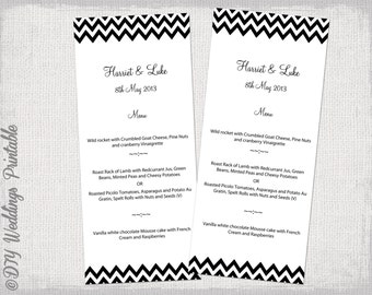 """Menu template -black and white DIY wedding menu -""""Chevron"""" digital printable menu YOU EDIT black menu template - Word instant download"""