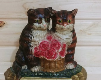 Vintage Cast Iron 2 Cats with a Basket of Roses Door Stopper