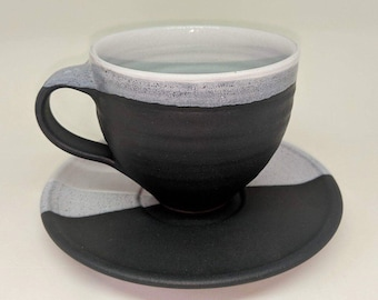 Ceramic Cup and Saucer / Handmade Pottery / Black and White