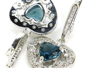 Sterling Silver London Blue Topaz Gemstone Heart Earrings & AAA CZ Accents