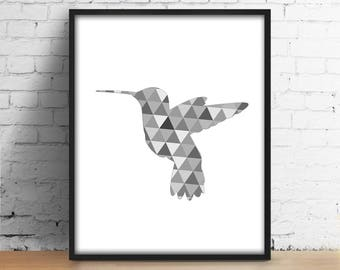 Hummingbird wall art Modern digital print Colibri Geometric triangles Printable art Scandinavian Minimal Loft graphic decor Abstract design
