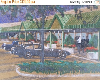 ON SALE 1960's, Original, Architect Rendering of a Shopping Center, Strip Mall, Drawing, Mid Century Modern, Art, Architecture