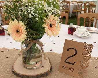 Rustic Log Slice Center Piece Wedding Table