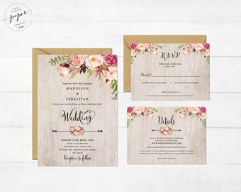 Wedding Invitation Pink Floral Printable Wedding Invite Barn Rustic Wedding Invitation Suite Boho Floral Wedding Invite Rustic Grey