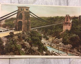 vintage postcard, postcard, vintage cards, vintage clifton suspension bridge postcard, vintage Clifton postcard, vintage leigh woods card