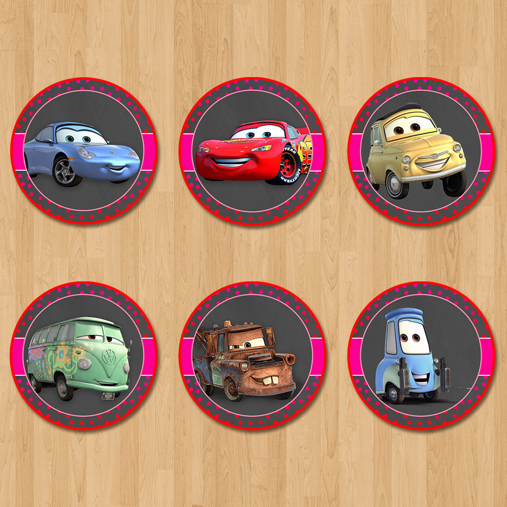 Disney Cars Cupcake Toppers Chalkboard Pink Red