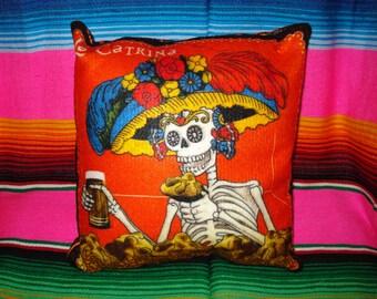 Day of the Dead Pillow Catrina Dia De Los Muertos Pillow