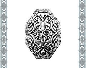 6 Ornamental rivets Wotan silver riveted norischer God rivets Zierniete fitting Concho Silver plated rivet