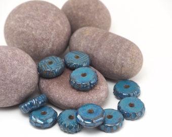 10 nautical beads,Flat beads,Textured beads,Handmade summer beads,Jewelry making beads,Beads set,Glazed beads,Pretty beads,Rare beads