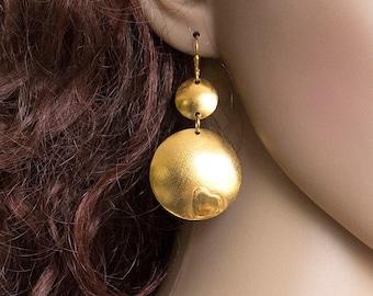 Long Dangle Earrings, Disk Earrings, Gold Earrings, Handmade Earrings, Modern Earrings, Big Disk Earrings, Statement Earrings, Gift
