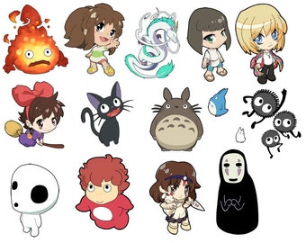 Studio Ghibli anime Art Stickers - Howl's Moving Castle, Spirited Away, Princess Mononoke, Ponyo