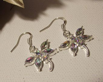 Earrings Dragonfly earrings with Rhinestones and bright animals in silver for women or teenager