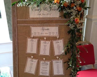 "Jute table plan, ""Emily1"" Rustic wedding table plan, Shabby chic table plan, country chic"