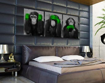 Painting on canvas triptych the 3 monkeys green hands