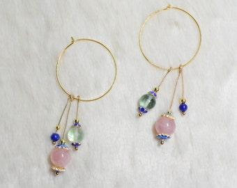 Rose Quartz, Fluorite and Lapis Lazuli Gold Earrings