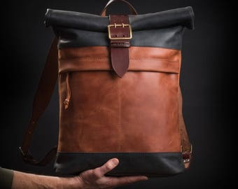Leather backpack with vintage buckle WW2 era by Kruk Garage Roll top backpack Brown leather backpack Men's backpack Laptop backpack