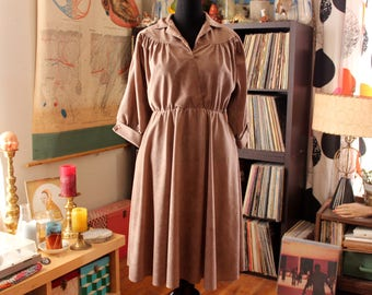 vintage 1970s dress - mocha beige ultrasuede with elastic waist and swing skirt . approx womens large