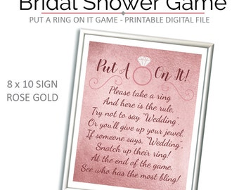 Rose Gold Put A Ring On It Game - Don't Say Wedding - Bridal Shower - Bridal Shower Game - Don't Say Bride - Ring Game - Game - Printable -