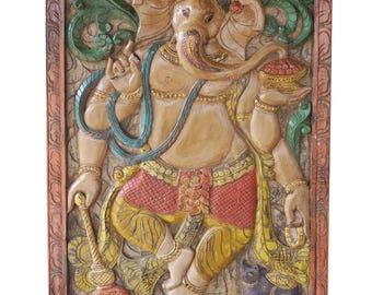 Vintage INDIAN Hand Carved Ganesha Barndoor Door Panel Wall Sculpture Eclectic Bohemian Yoga Unique Art
