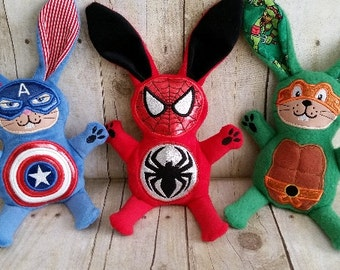 Superhero Bunny - Spider Bunny, Captain America Bunny, Ninja Bunny, and Batman Bunny  **2 sizes available**