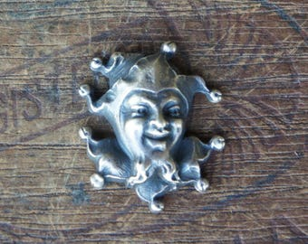 Vintage French Brass Stamping/Antique Style/Winged Angel/Cherub/Jester/Harlequin/Clown/French Findings