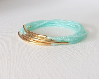 Set of 3 Mint bracelet, aqua bracelet, stretchy bracelet,turquoise bracelet, seed bead bracelet,minimalist,noodle,beaded bracelet,bridesmaid