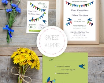 Love Birds Wedding Invitation SUITE, Bunting Flags Wedding, Wedding Suite Digital File PDF Delivery
