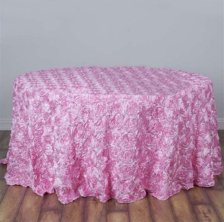 Pink Satin Ribbon Rosette Tablecloth, Table Runner, Table Overlay, Wedding  Tablecloth, Baby Shower, Various Colors Available
