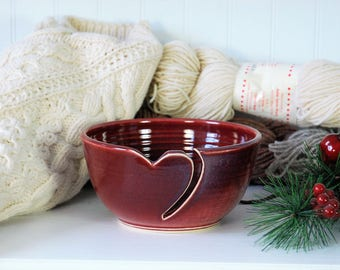 Red Heart Ceramic Yarn Bowl, crochet bowl,  pottery wool bowl, knitter's bowl, knitting and crochet accessory, valentine's day gift