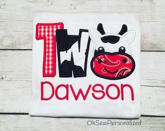 Farm Birthday Shirt - Cow Birthday Shirt - Second Birthday Short - Boy Cow Birthday Shirt - Barnyard Boy Birthday Shirt