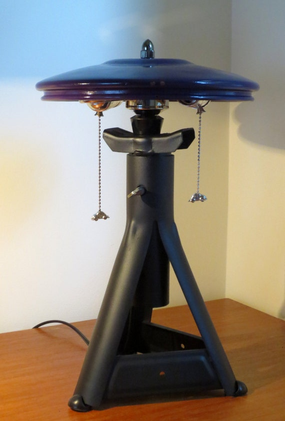 Roboto Ronin jackstand lamps with VW hubcap shades - 2 available