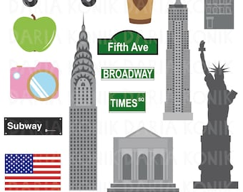 New York Clip Art Set-city clipart, America, USA, travel clipart, Chrysler Building, Empire State Building, eps, png, jpeg, instant download